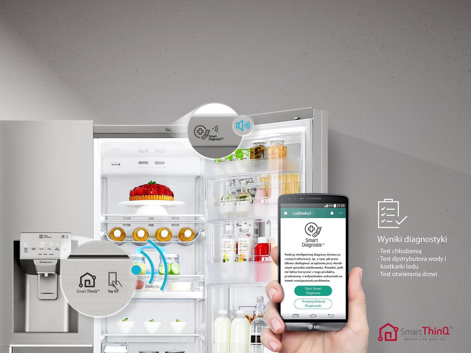 lodówka lg side by side ze specjalną przestrzenią chłodzenia sterowaną smartfonem