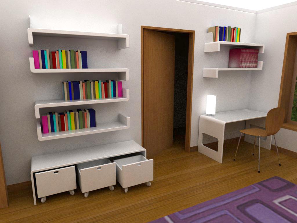 design - nowoczesne półki na kolorowe książki w  pokoju nastolatka