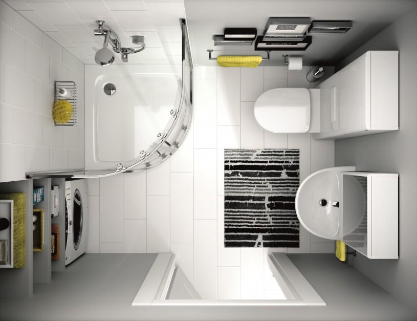 narożna kabina prysznicowa w małej biało szarej łazienke - widok z góry