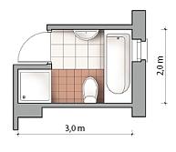 Plan małej łazienki która pomieściła i wannę i kabinę prysznicową
