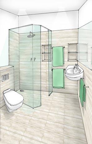 szpic projektu małej łazienki z kabiną prysznicową w kolorach beżu i zielemi