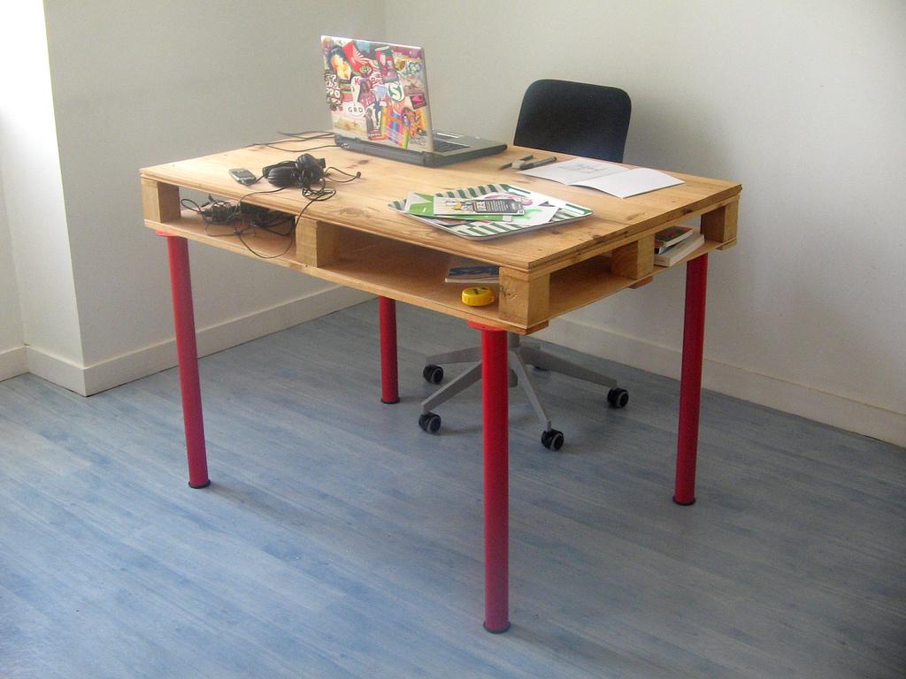biurko w stylu industrialnym z palety